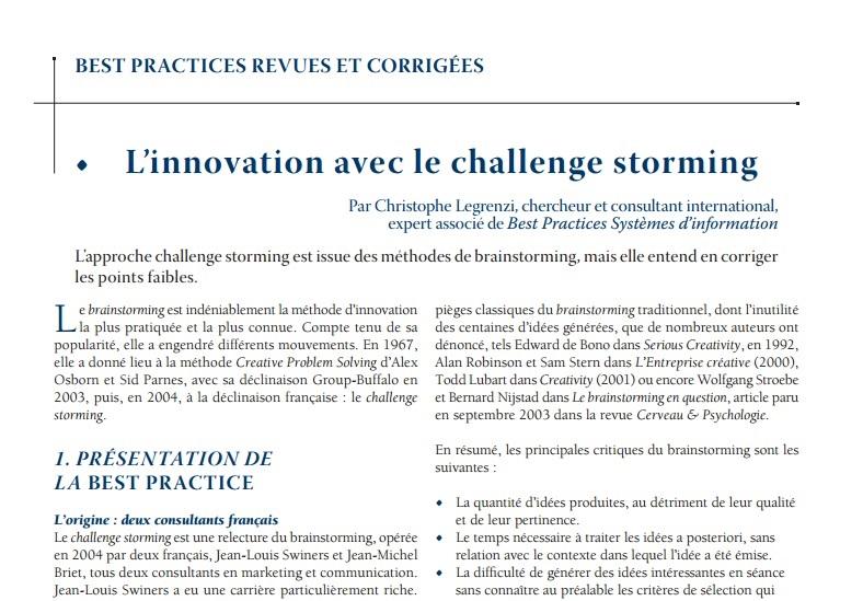 article best pactice Challenge Storming