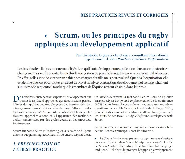 Scrum, ou les principes du rugby appliqués au développement applicatif
